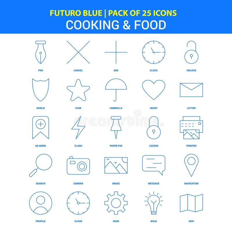 Cooking and Food Icons - Futuro Blue 25 Icon pack royalty free illustration