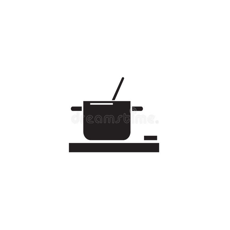 Cooking food pot black vector concept icon. Cooking food pot flat illustration, sign. Symbol royalty free illustration