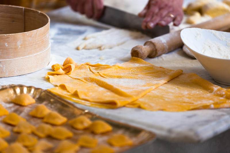 Download Cooking fresh pasta stock photo. Image of professional - 25565638