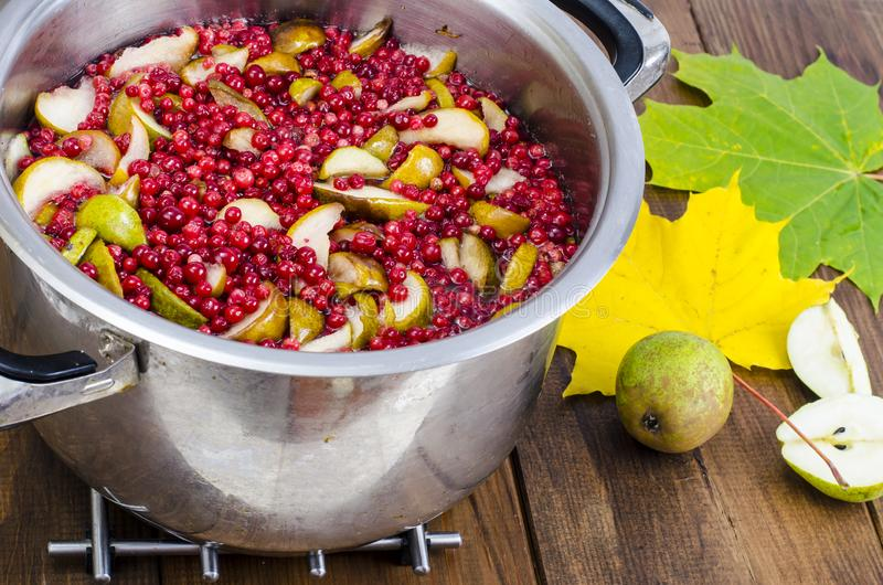 Cooking fresh pear and cranberry. Studio Photo stock image
