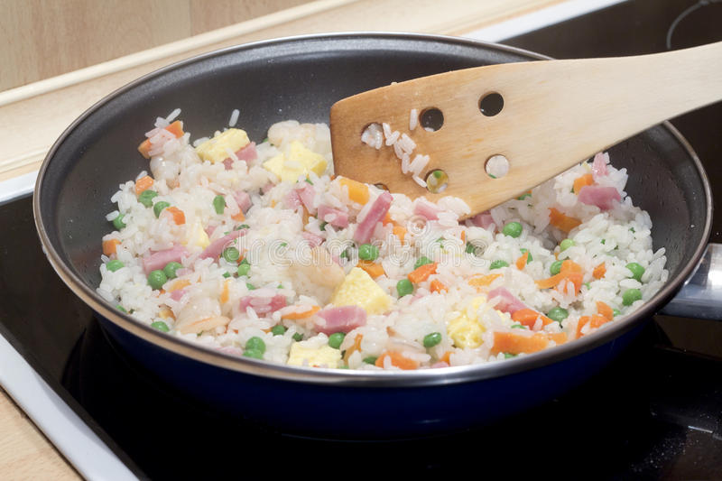 Download Cooking fried rice stock image. Image of peas, cooking - 27051347