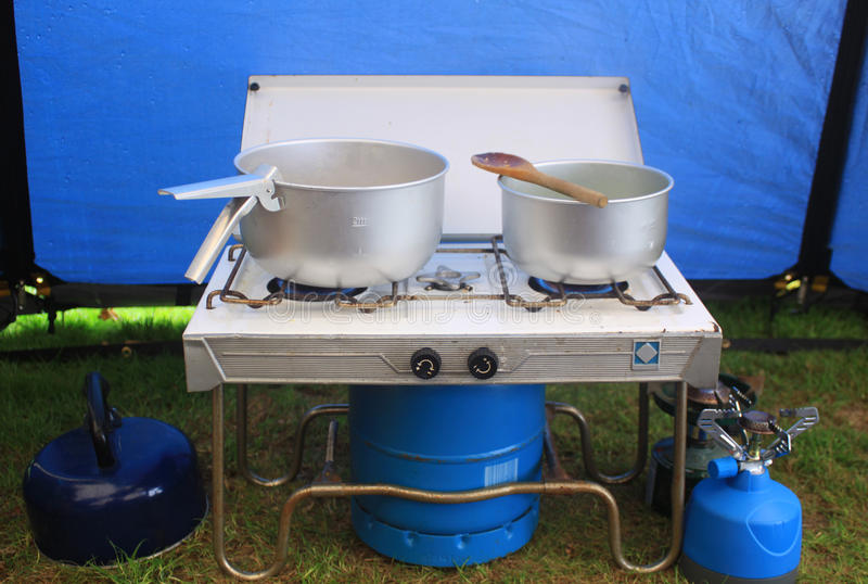 Download Cooking on Gas stock photo. Image of tent, blue, camp - 10477930