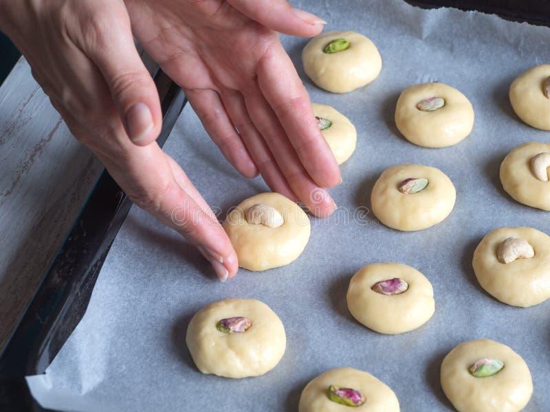 Cooking of Ghorayeba sweets. Eid eats. Cookies of El Fitr Islamic Feast royalty free stock photos