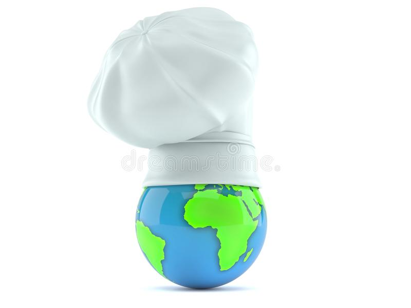 Cooking hat with world globe vector illustration