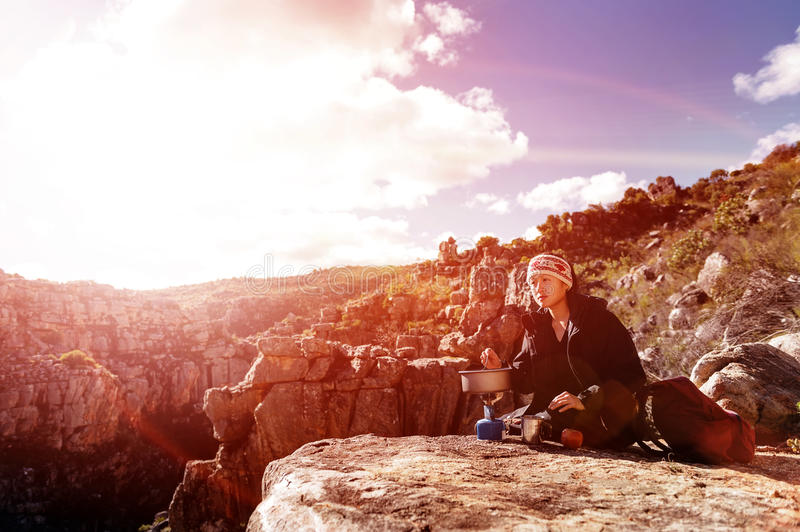 Download Cooking Hiker Woman Royalty Free Stock Photography - Image: 25245617