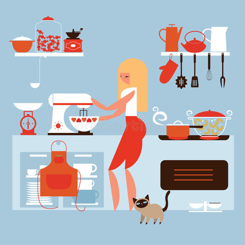 Cooking at home royalty free illustration