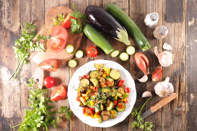 Cooking homemade ratatouille. Top view stock photography