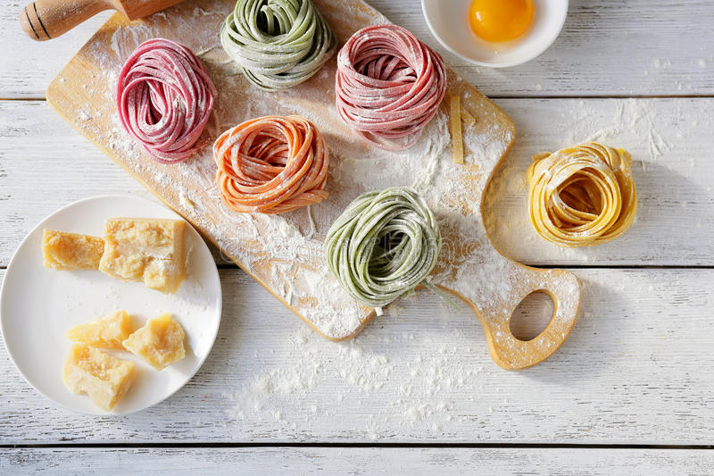 Cooking hommemade pasta. Food top view royalty free stock photo