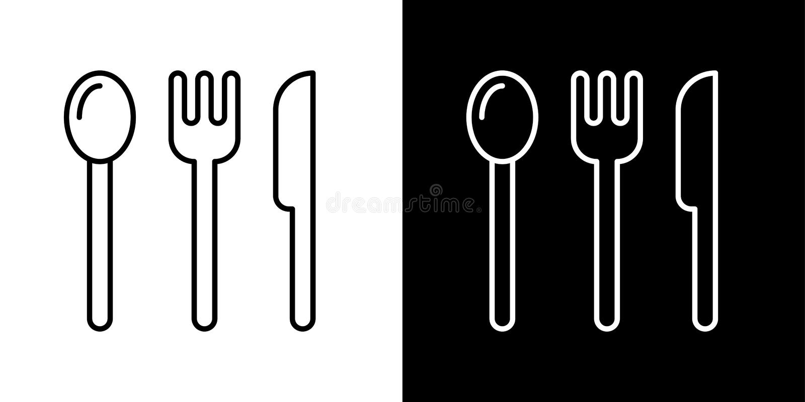 Cooking icons. Cutlery. Spoon, fork, knife icon vector illustration