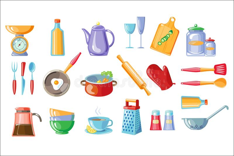 Cooking icons set, kitchen utensils with scales , frying pan, pot, teapot, grater, colander vector Illustrations on a vector illustration