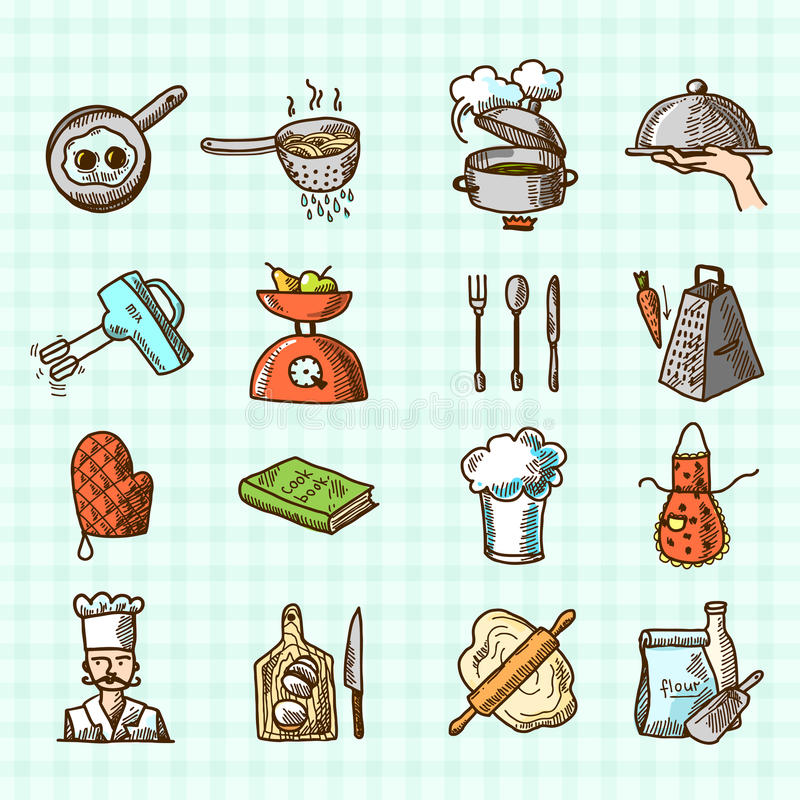 Cooking icons sketch royalty free illustration