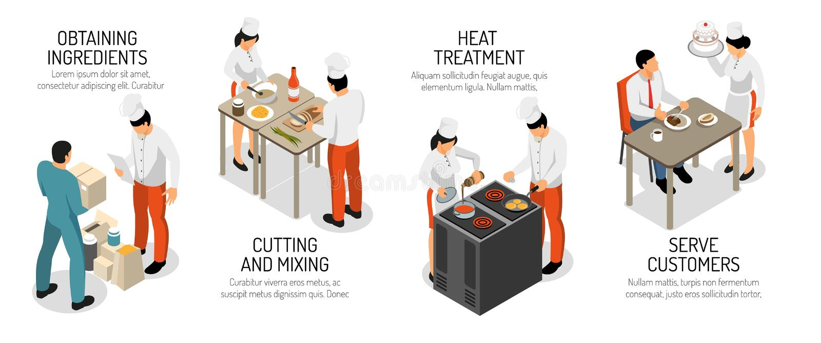 Cooking Infographic Isometric Composition royalty free illustration