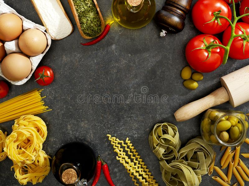 Cooking ingredients from above stock image