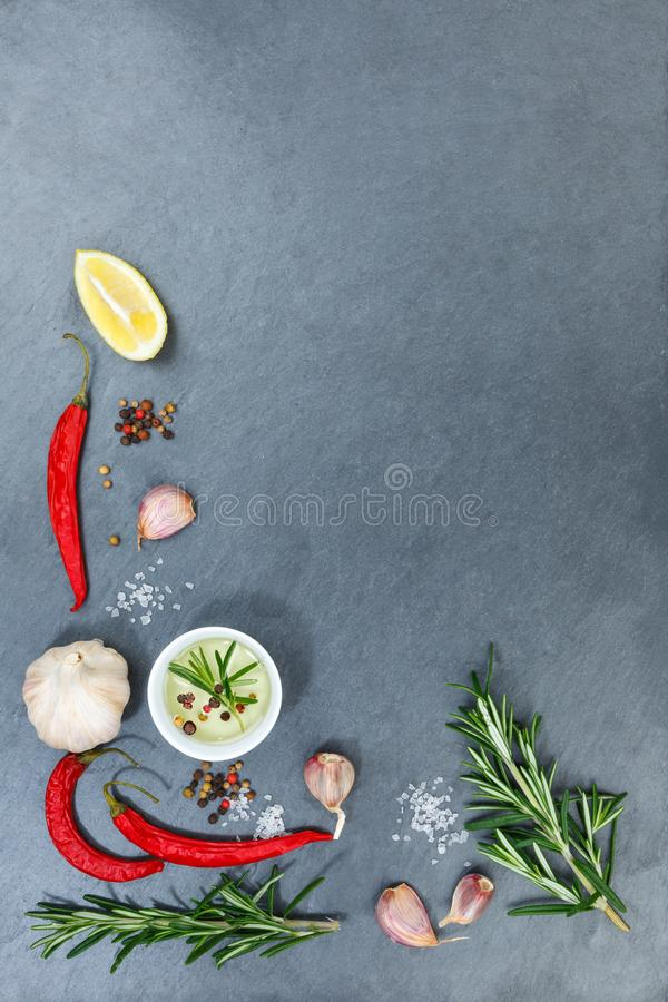 Cooking ingredients spices herbs basil portrait format copyspace spicy red hot chili peppers chilli royalty free stock images