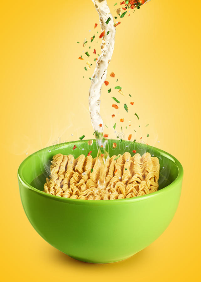 Cooking instant noodles. royalty free stock photos
