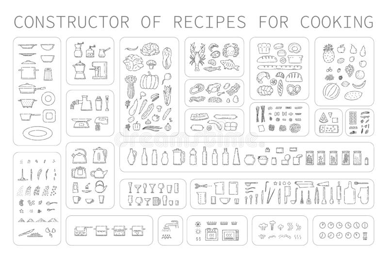 Cooking instruction icons of different food utensils and appliances for kitchen. Step guide constructor set line art stock illustration