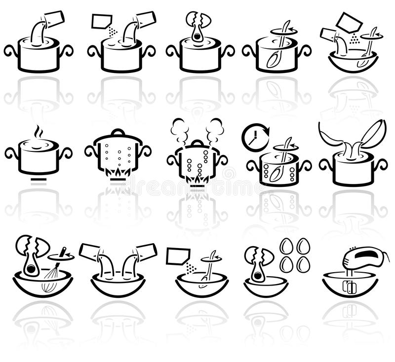 Cooking instruction vector icons set. EPS 10. stock illustration