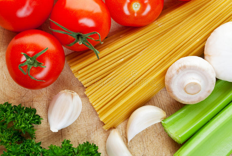 Cooking Italian. Some of the ingredients needed for cooking Italian food royalty free stock photo