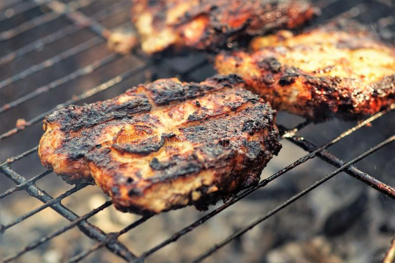 Cooking kebabs on the grill, pork steaks, ready fried chunks of meat royalty free stock photo