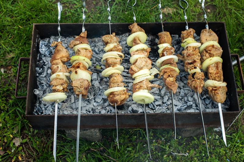 Cooking kebabs on skewers on the grill, over burning coals royalty free stock image