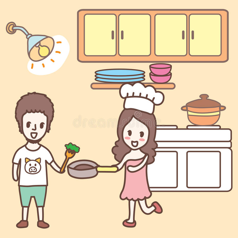 Cooking In The Kitchen Cartoon Stock Vector Image