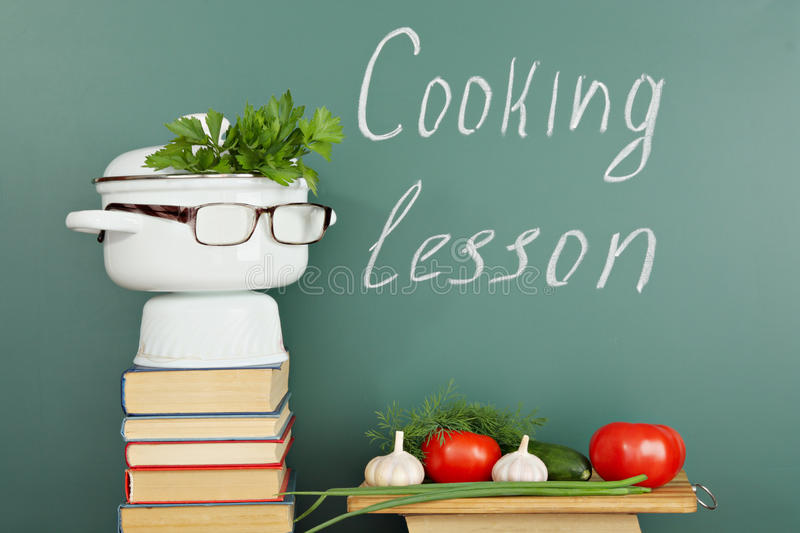 Cooking lesson. Unusual education idea, cooking lesson vector illustration