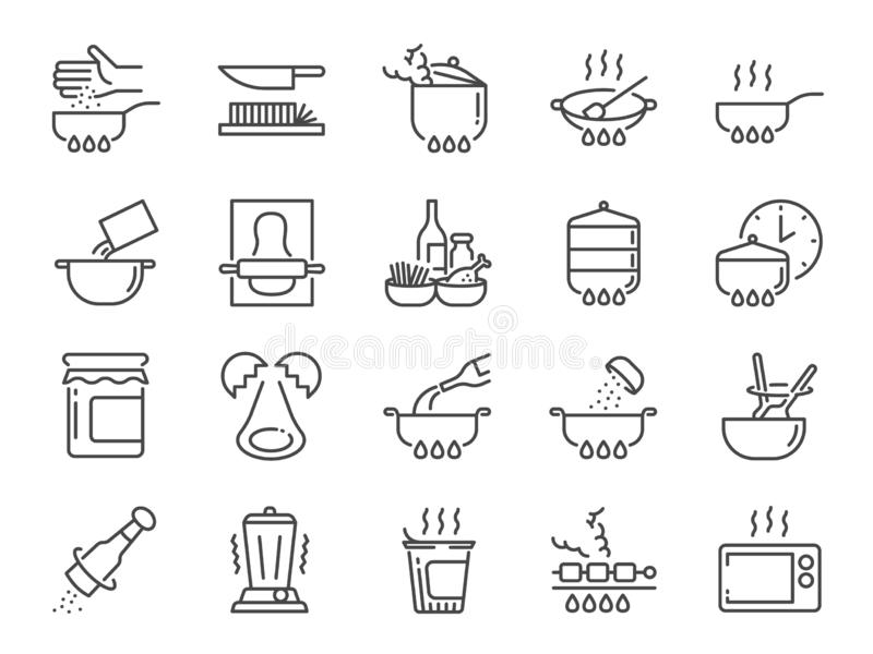 Cooking line icon set. Included icons as kitchen, Bake, Boil, BBQ, Fry, Stew and more. Vector and illustration: Cooking line icon set. Included icons as kitchen royalty free illustration