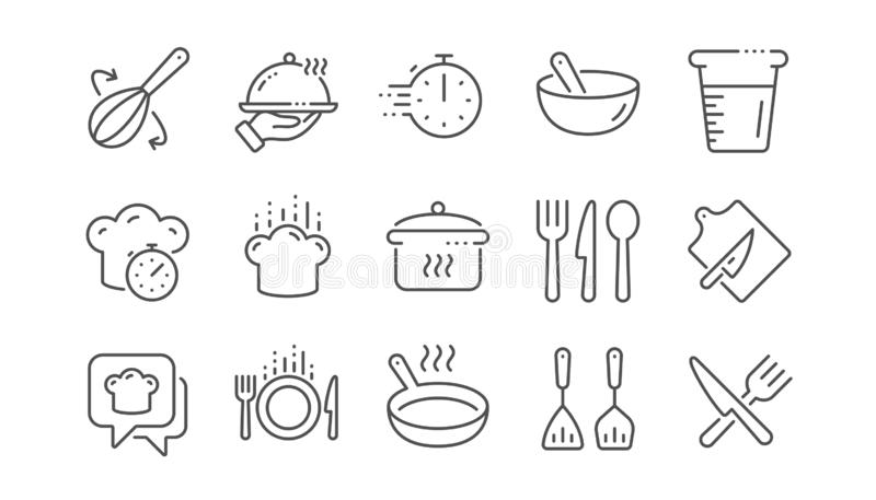 Cooking line icons. Boiling time, Frying pan and Kitchen utensils. Linear set. Vector. Cooking line icons. Boiling time, Frying pan and Kitchen utensils. Fork vector illustration