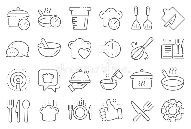 Cooking line icons. Boiling time, Frying pan and Kitchen utensils. Vector. Cooking line icons. Boiling time, Frying pan and Kitchen utensils. Fork, spoon and royalty free illustration