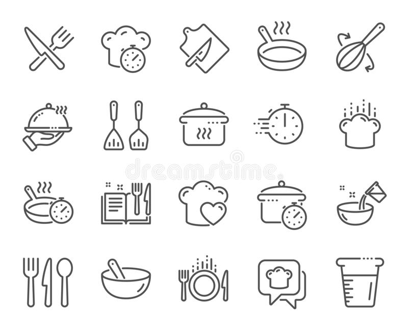 Cooking line icons. Boiling time, Frying pan and Kitchen utensils. Vector. Cooking line icons. Boiling time, Frying pan and Kitchen utensils. Fork, spoon and vector illustration
