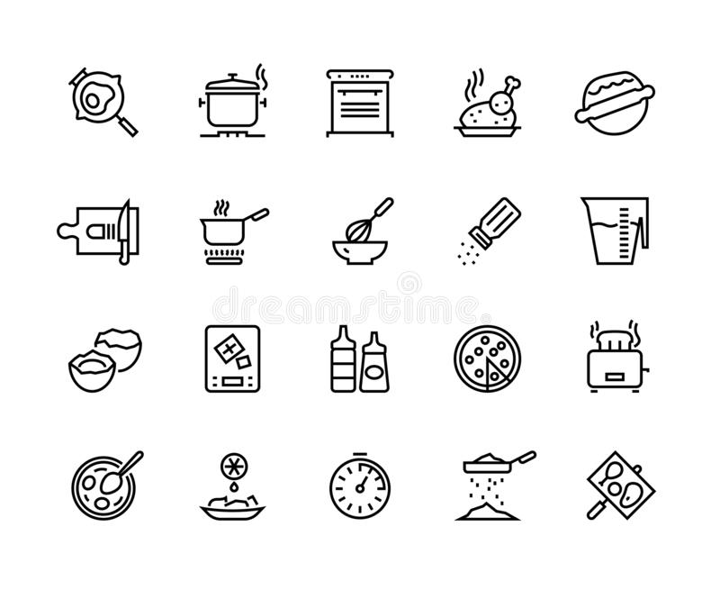 Cooking line icons. Pan pot kitchen utensils and cooking processes, boiling frying mixing and cutting. Vector food. Cooking line icons. Pan pot kitchen utensils vector illustration