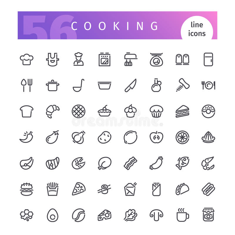 Cooking Line Icons Set stock illustration