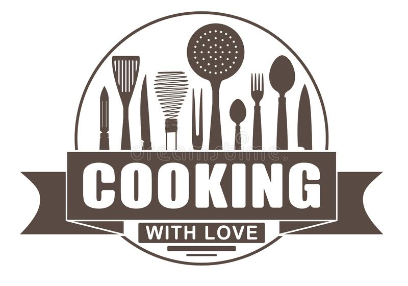 Cooking with love round vector design for your logo or emblem with banner and silhouettes of cooking utensils and kitchenware royalty free illustration