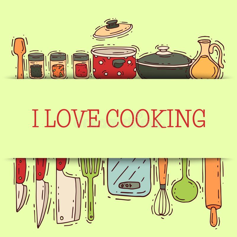 Cooking love shelf equipment vector kitchenware or cookware for food with kitchen utensil cutlery and plate illustration stock illustration