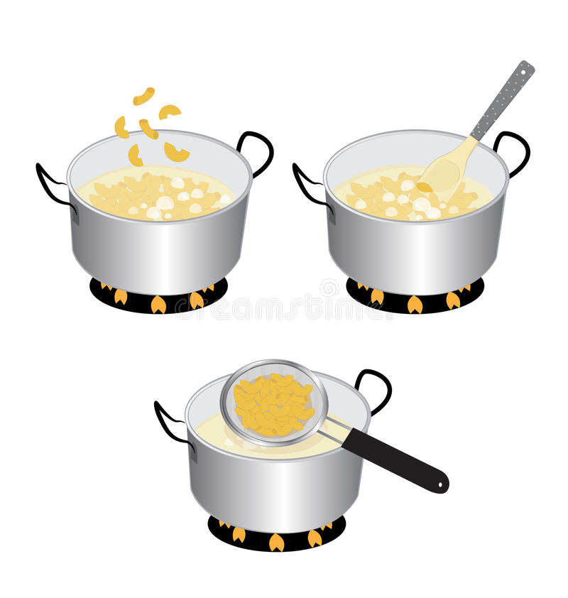 Cooking macaroni. How to cooking macaroni on white background royalty free illustration