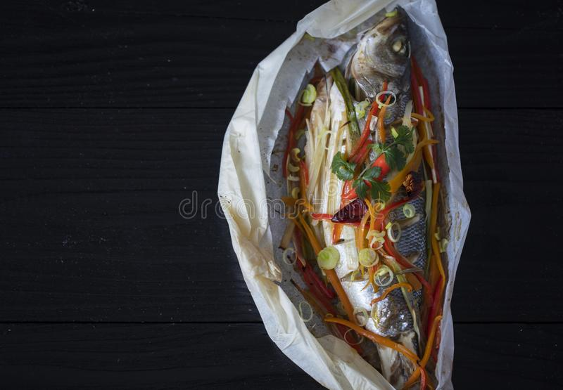 Cooking and marinating sea fish royalty free stock photos