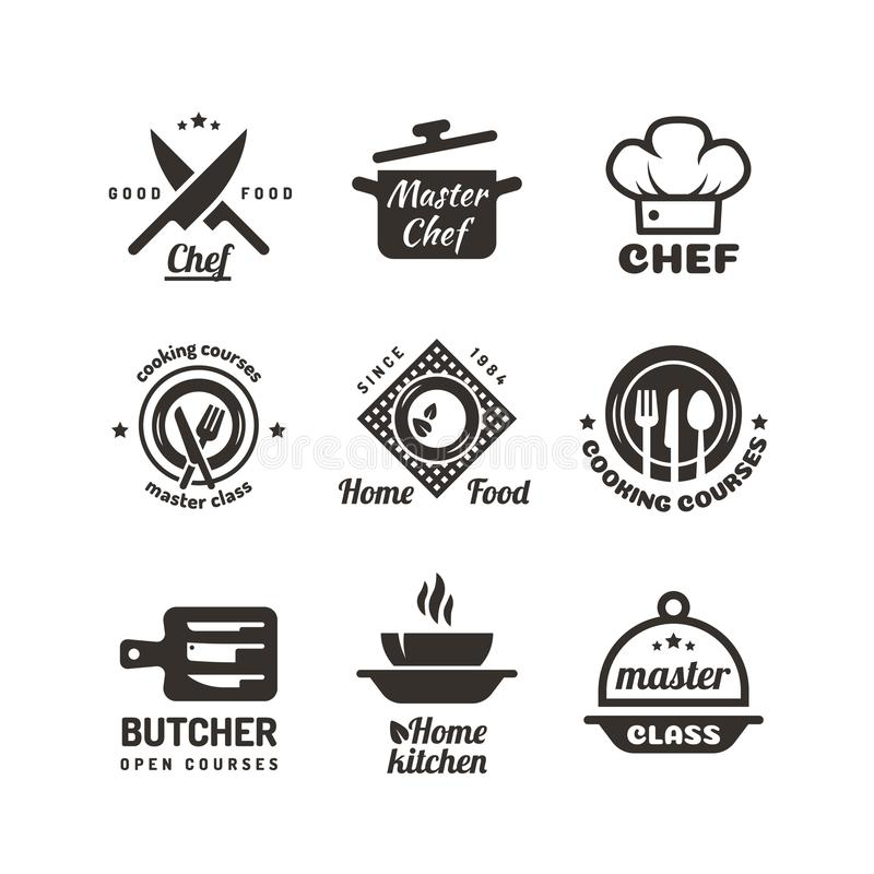 Cooking master classes labels. Restaurant or cafe menu emblems. Chef vector logo isolated on white background stock illustration