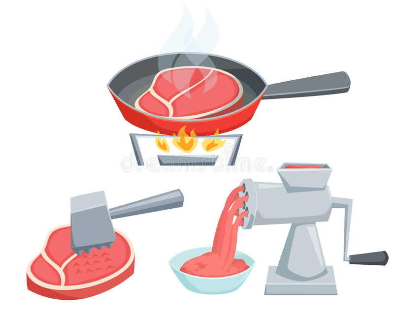 Cooking meat set. Fry the steak in a frying pan, make minced in a meat grinder, tenderize meat with hammer. Cooking process vector illustration. Kitchenware stock illustration
