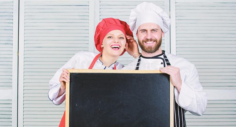 Cooking menu for today. List ingredients cooking dish. Family restaurant. Opening soon. Hiring staff. Woman and man chef royalty free stock photos