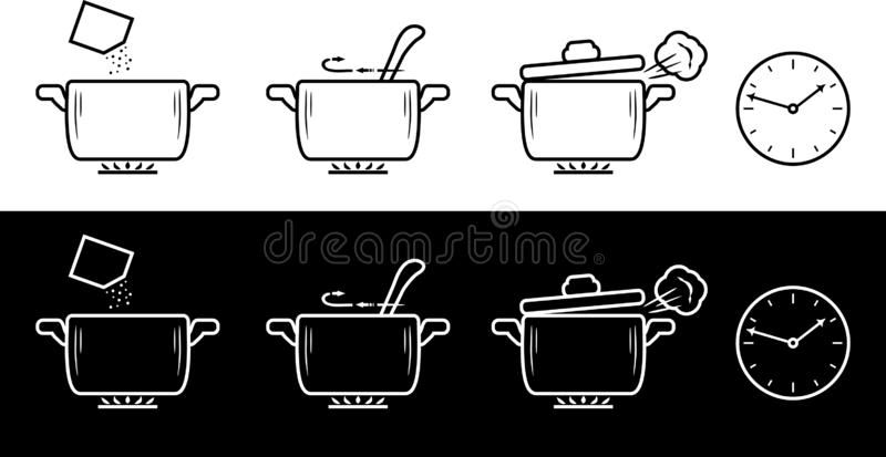 Cooking method in four steps. Black and white drawing royalty free illustration