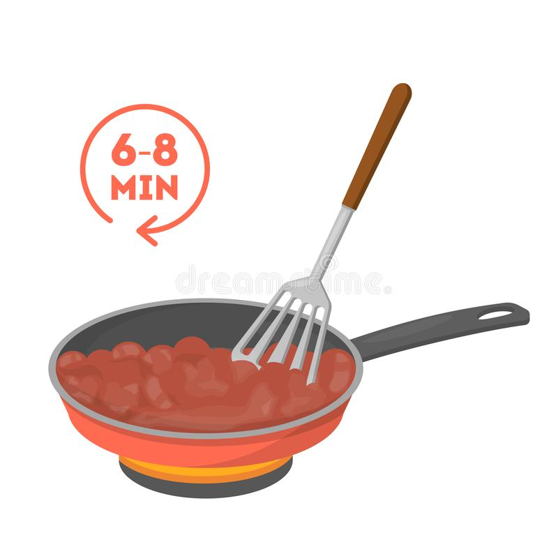 Cooking minced meat in a frying pan. Making delicious. Dinner. Tasty food preparing in skillet. Isolated vector illustration in cartoon style vector illustration