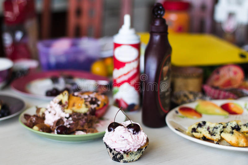 Download Cooking muffins stock photo. Image of messy, bread, kitchen - 28872928