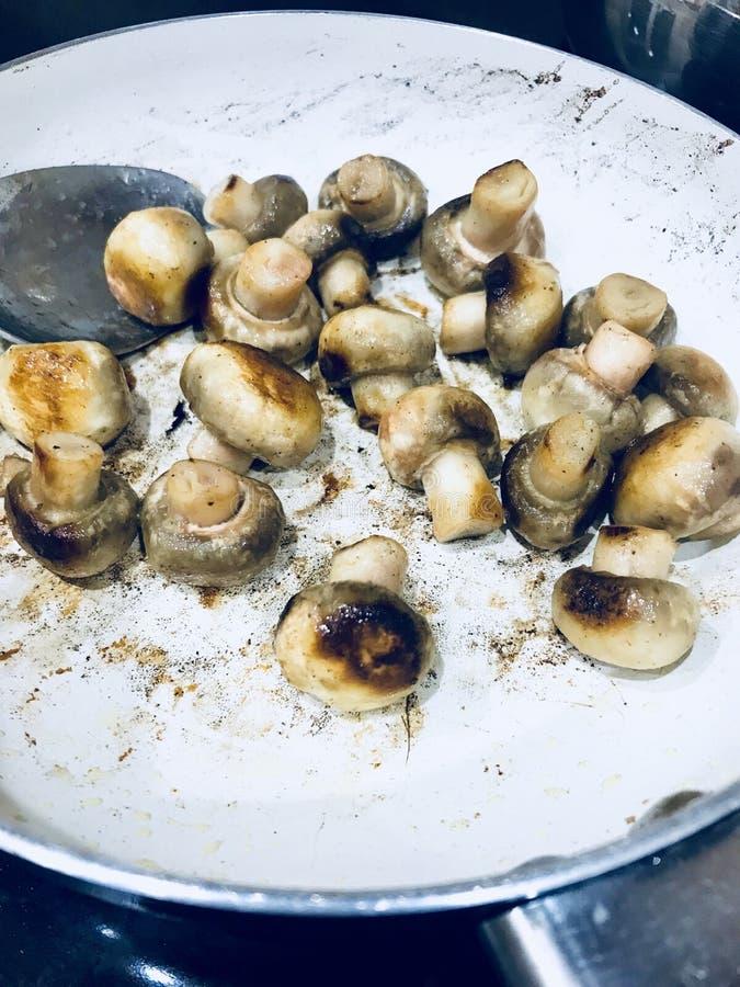 Cooking mushrooms stock photos