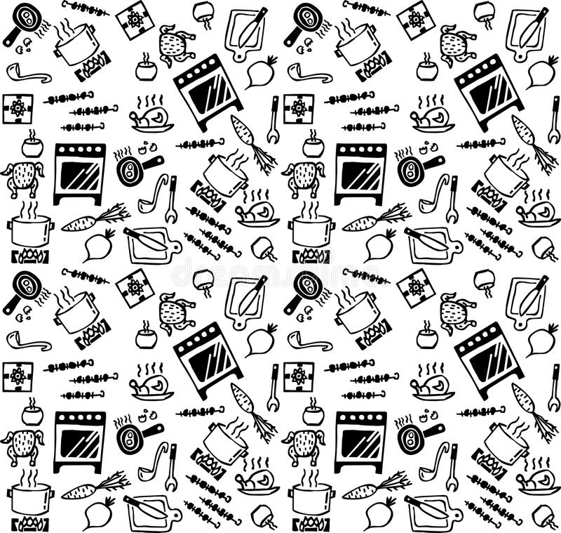Cooking objects icons black and white seamless pattern. stock illustration