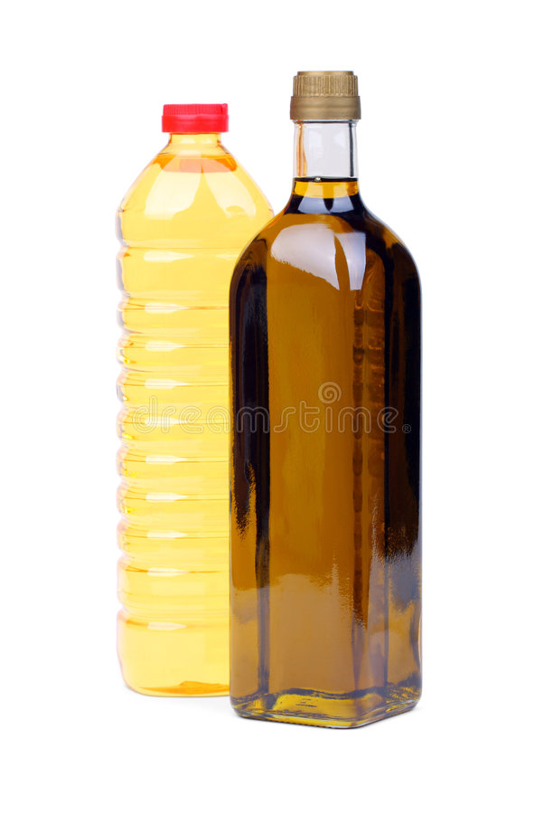 Cooking oil bottles stock photos