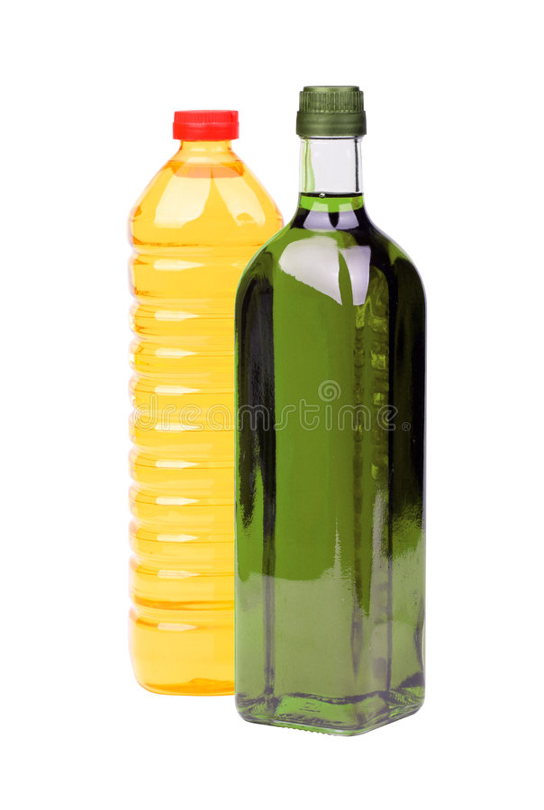 Cooking oil bottles stock photography