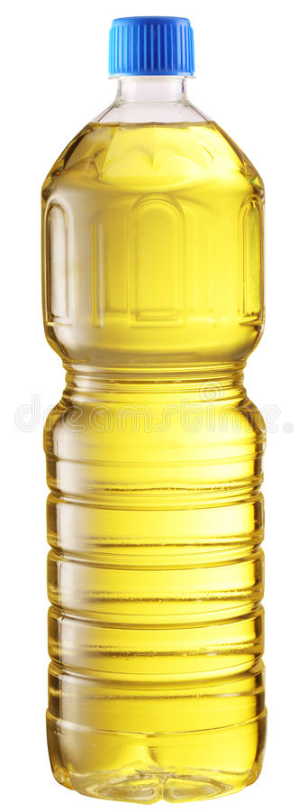 Cooking oil in a plastic bottle. stock photos