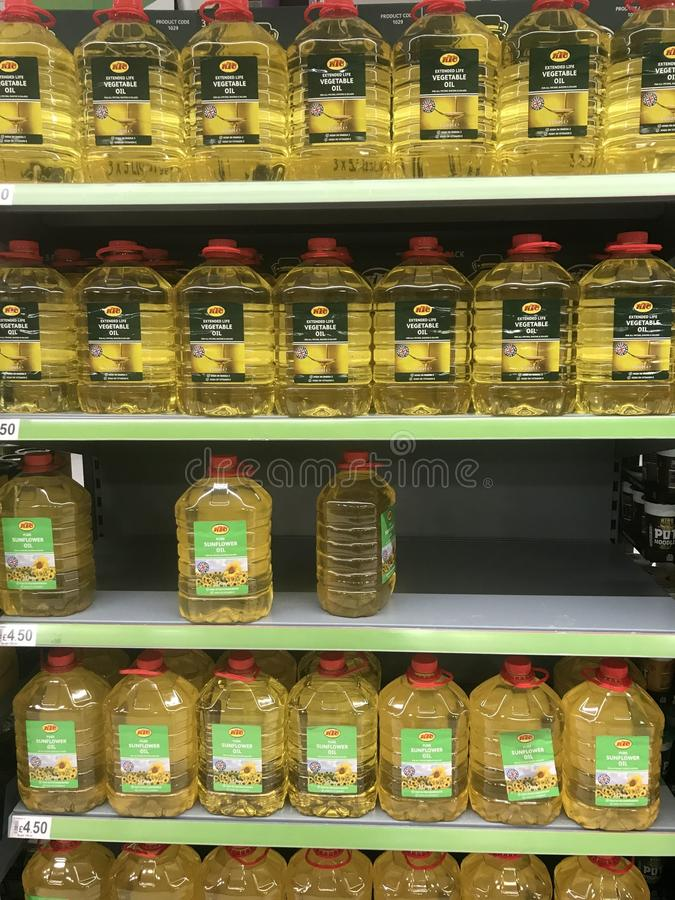 Cooking oils on shelves stock photography