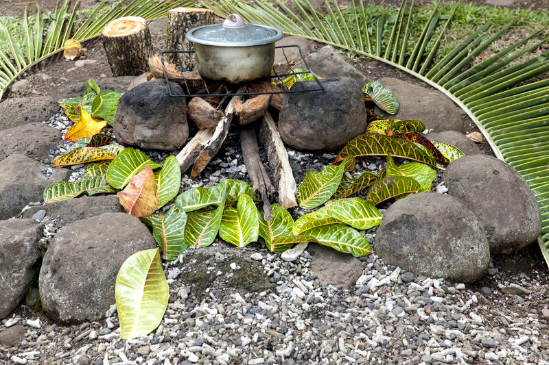 Cooking on open fire. Cooking in Fiji on traditional way on an open fire stock images