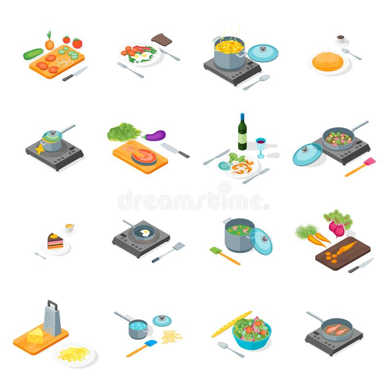 Free Cooking Or Preparation Food Icons Set Isometric View. Vector Stock Images - 107302464